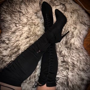 EGO SHOES Lace Up Lycra Heel Boots